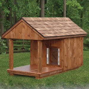 Black Bear Dog House With Porch Front View