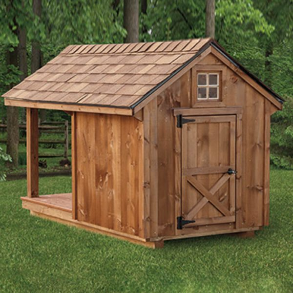Black Bear Dog House With Porch Rear View